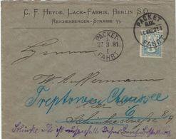 C. F. Heyde - Lack-Fabrik Berlin - Packet-Fahrt 1891 - Privatpost - Pharmacie