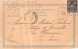 CP Avec TYPE SAGE SURCHARGE PORT SAID (EGYPTE)1900 - Brieven En Documenten