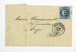 LAC 1872 Vaucouleurs (Meuse) Pour Troyes, Affr. 25c Type Ceres, Obl. Losange GC 4114, Tad Type 15 - Postmark Collection (Covers)