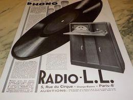 ANCIENNE PUBLICITE TSF  PHONO RADIO LL 1928 - Radio & TSF