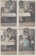 """Série Complète De 5 CPA """"La Blanchisseuse"""" - Série 921 Cartes Numérotées De I à V - Couples"""