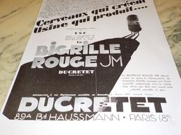 ANCIENNE PUBLICITE BIGRILLE ROUGE   DUCRETET 1928 - Radio & TSF