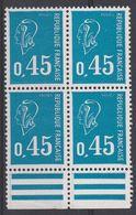"""1663 0.45 BLEU BEQUET - BLOC De 4 """"POSTES Et REPUBLIQUE' Estompés - 1971-76 Maríanne De Béquet"""