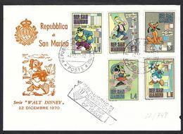 San Marino 1970; Walt Disney, FDC : Gambadilegno Il Gatto Nemico Di Topolino, Black Pete Is Mickey's Mouse Enemy Cat - Domestic Cats