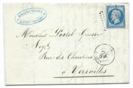 N° 14 BLEU NAPOLEON SUR LETTRE / ALBERT POUR VERSAILLES / 25 MAI 1861 - 1849-1876: Classic Period