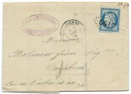 N° 60 BLEU CERES SUR LETTRE / MARCHIENNES NORD POUR CAMBRAI / 1875 / GC 2199 IND 4 / VERRERIE - Postmark Collection (Covers)