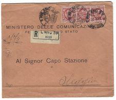 CL358 - STORIA POSTALE LETTERA DA MINISTERO COMUNICAZIONI FERROVIA DELLO STATO MILANO A CAPO STAZIONE OLEGGIO 1929 - 1900-44 Victor Emmanuel III.