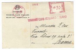 CL366 - STORIA POSTALE CARTOLINA POSTALE INTERO POSTALE TOURING CLUB ITALIANO DA MILANO A ROMA 1932 - Marcofilie
