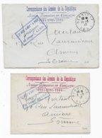 2 Cartes Lettres  FM Guerre 14/18 Département De L'AUBE HERBISSE Cachet De Franchise Militaire - Marcophilie (Lettres)