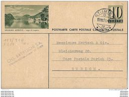 "85 - 83 - Entier Postal Avec Illustration ""Brusino Arsizio"" Cachet à Date St Imier 1951 - Postwaardestukken"