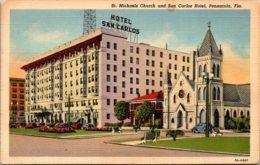 Florida Pensacola St Michaels Church And San Carlos Hotel Curteich - Pensacola