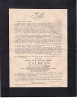 DROGENBOS Burgemeester CALMEYN Pierre époux BORMANS 1890-1945 Famille TERLINDEN COGELS SOLVYNS - Overlijden