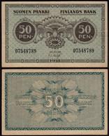 FINNLAND - FINLAND 50 PENNIA BANKNOTE 1918 PICK 34 VF (3)  (23601 - Finlande