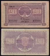 FINNLAND - FINLAND 20 MARKKA 1939 Litt. D PICK 71a F (4) Serie B   (23632 - Finlandia