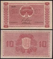 FINNLAND - FINLAND 10 MARKKA 1945 Litt. B PICK 77a VF (3) Serie I    (23642 - Finlande