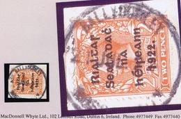 Ireland Roscommon 1922 Rubber Climax Dater BALLYDOOLEY ROSCOMMON 21 JUL.22 On Thom Rialtas 2d On Piece - Irlande