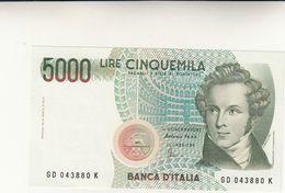 Banca D'Italia, Lire 5000 Rossini Dec. Min. 1985 Perfetta - [ 2] 1946-… : Repubblica