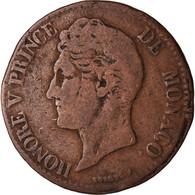 Monnaie, Monaco, Honore V, 5 Centimes, Cinq, 1837, Monaco, TB, Cuivre - 1819-1922 Honoré V, Charles III, Albert I