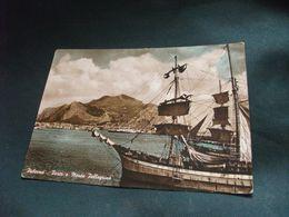 NAVE SHIP NAVIRE BOAT BATEAU  VELIERO PALERMO PORTO E MONTE PELLEGRINO STRAPPAMENTO IN ALTO - Sailing Vessels