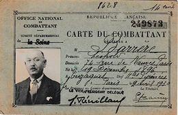 1930 - OFFICE NATIONAL Du COMBATTANT - CARTE DE COMBATTANT - Documents Historiques
