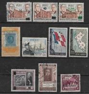 1957-8 Peru Exposicion Francesa-exp. Peruana Banderas-personajes-pro Desocupados 10v. - Pérou