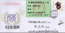 CHINA CHINE CINA JILIN BAISHAN TO JILIN CHANGCHUN COVER WITH ANTI COVID-19 INFORMATION - 1949 - ... République Populaire
