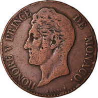 Monnaie, Monaco, Honore V, 5 Centimes, Cinq, 1838, Monaco, TB+, Cuivre, KM:95.2a - 1819-1922 Honoré V, Charles III, Albert I