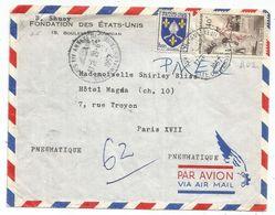 40FR PELOTE + BLASON 5FR PNEUMATIQUE PARIS XIV ANNEXE III 29.6.1957 CITE UNIVERSITAIRE - Postmark Collection (Covers)