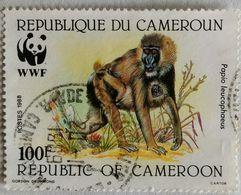 022. CAMEROON 1988 USED STAMP WILD ANIMALS, MONKEYS, W.W.F. - Cameroun (1960-...)