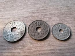 Lot 20 Centimes 1943 Et 10 Centimes 1941 Et 1944 - France