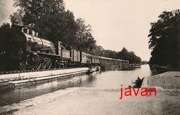 PHOTO  : Moissac, CHEMIN DE FER SUR LE PONT CANAL DU MIDI,  Reproduction, 2 Scans - Trains