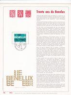 Exemplaire N°001 Feuillet Tirage Limité 500 Exemplaires Frappe Or Fin 23 Carats 1723 30 Ans De Benelux - Panes