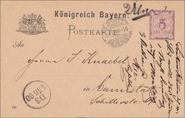 Bayern: Ganzsache 1890 Von Neu Ulm Nach Cannstatt - Bayern (Baviera)