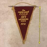 Flag Pennant Banderín ZA000492 - Olympics Melbourne 1956 Soviet Union (SSSR USSR CCCP) National Committee NOC - Apparel, Souvenirs & Other
