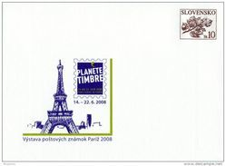 Slovaquie 2008 COB 93 Feuille De Tilleul Planète Des Timbres PARIS Tour Eiffel - Postal Stationery