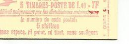 Sabine De Gandon 1.40F Rouge  2 Bandes Phosphorescentes N° 2102-C1 - Libretas