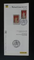 Richard Coeur De Lion Medieval Chalus 87 Haute Vienne Notice FDC Avec Timbre - Multilingual FDC 1999 - 1990-1999