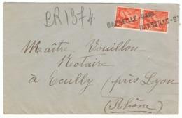 3f Iris Yvert 655 En Paire Sur Lettre Recommandée Provisoire - 1939-44 Iris