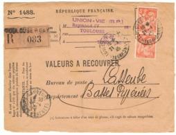 3f Iris Yvert 655 En Paire Sur Devant De Valeurs à Recouvrer, 1945 - 1939-44 Iris