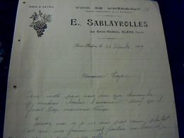 Facture Vins De L'Hérault E.Sablayrolles Au Bois Redon Blaye Tarn Année 1919 - Facturen