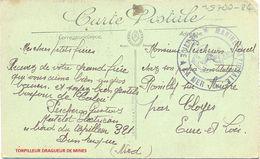 POSTE NAVALE PERCHERON Gustave MATELOT ELECTRICIEN à BORD Du TORPILLEUR 321 DUNKERQUE NORD => CLOYES EURE-ET-LOIR - Postmark Collection (Covers)