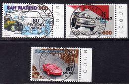 REPUBBLICA DI SAN MARINO 1987 GRANDI COMPETIZIONI AUTOMOBILISTICHE SERIE COMPLETA COMPLETE SET USATA USED OBLITERE' - Saint-Marin