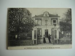 Cpa 91 Vigneux Sur Seine Ecole Garcon Mairie - Vigneux Sur Seine