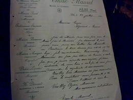 Facture Émile Maurel Représentant Chocolat Morue Sardines Conserve Etc  à Alibi Année 1909 - Invoices