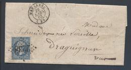 22 Napoléon GC 2238 Marsanne 25 1868 Indice 7 LAC Pour Draguignan - 1849-1876: Période Classique