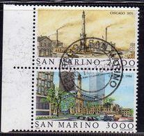 REPUBBLICA DI SAN MARINO 1986 CHICAGO 1870 SERIE COMPLETA COMPLETE SET USATA USED OBLITERE' - Saint-Marin