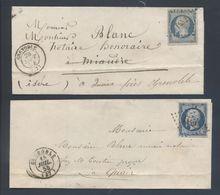 14A Napoléon PC 1452 Grenoble 37 Bleu Laiteux 1854 + Bleu Foncé 1855 Sans Correspondance - 1849-1876: Période Classique