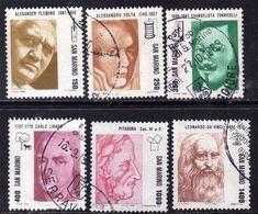 REPUBBLICA DI SAN MARINO 1983 PIONIERI DELLA SCIENZA SCIENCE PIONEERS SERIE COMPLETA COMPLETE SET USATA USED OBLITERE' - Saint-Marin