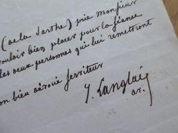 Jacques LANGLAIS (1810-1866) Député SARTHE Mamers. Ministre MEXIQUE Mexico. AUTOGRAPHE - Autographs