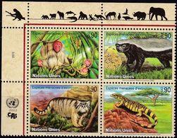UNO-Genf, 2002, 434/37, Gefährdete Arten (X): Fauna.  MNH **, - Hojas Y Bloques